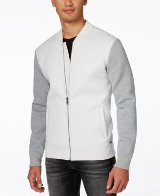 GUESS Men's Cruz Colorblocked Mock-Collar Bomber Jacket