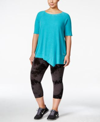 Calvin Klein Performance Plus Size Asymmetrical-Hem Tunic & Printed Cropped Leggings