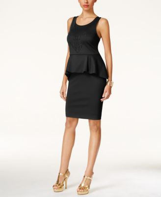 Thalia Sodi Perforated Peplum Scuba Sheath Dress, Only at Vogily
