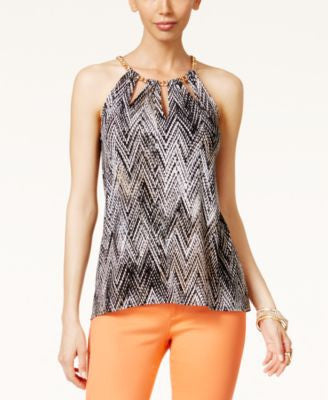 Thalia Sodi Printed Chain-Neck Cutout Halter Top, Only at Vogily
