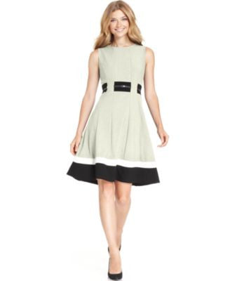 Calvin Klein Petite Colorblocked Belted Fit & Flare Dress