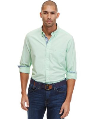 Nautica Men's Spencer Long-Sleeve Contrast-Trim Oxford Shirt
