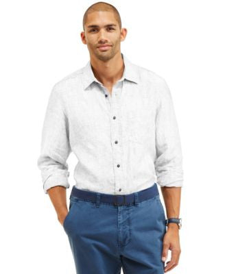 Nautica Men's Slim-Fit Solid Linen Shirt