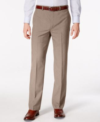 Lauren Ralph Lauren Men's Tan Microfiber Neat Classic Fit Dress Pants