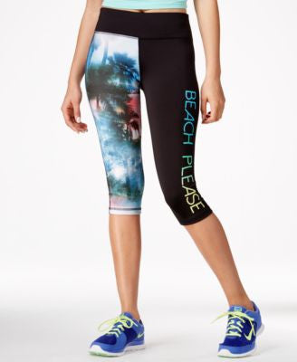 Material Girl Active Juniors' Cropped Graphic Leggings, Only at Vogily