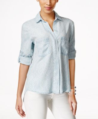 Olive + Sloane Printed Denim High-Low Shirt, Only at Vogily