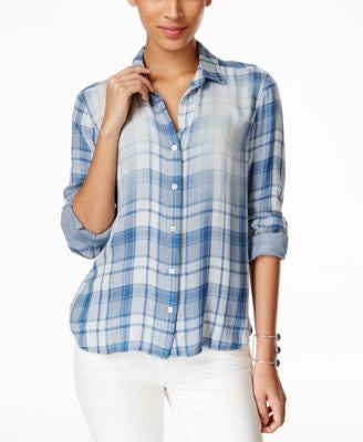 Olive + Sloane Plaid High-Low Shirt, Only at Vogily
