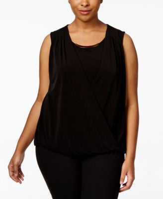 Calvin Klein Plus Size Sleeveless Blouson Wrap Top