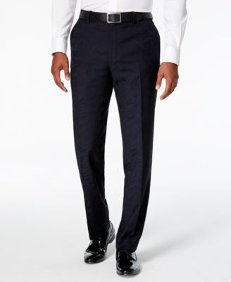Bar III Men's Navy Camo Flat Front Slim Fit Dress Pants, Only at Vogily