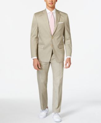Lauren by Ralph Lauren Tan Solid Cotton Classic-Fit Suit Separates