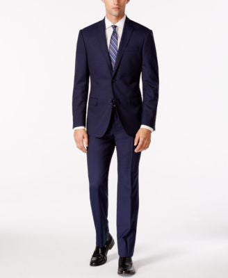 DKNY Men's Blue Tic Slim-Fit Suit