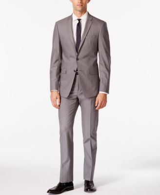 DKNY Men's Medium Gray Stretch Extra Slim Fit Suit