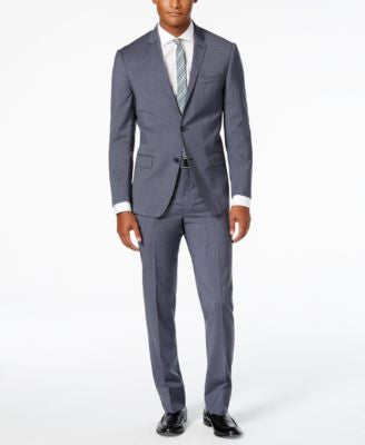 DKNY Men's Blue and Gray Houndstooth Slim Fit Suit