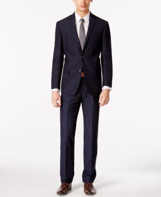 DKNY Men's Navy Linen Blend Extra Slim Fit Suit