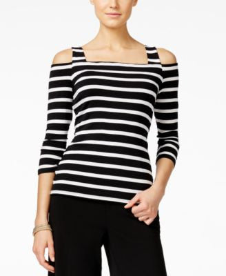 INC International Concepts Striped Cold-Shoulder Top, Only at Vogily