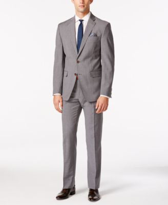 Tallia Men's Medium Grey Striped Slim-Fit Suit