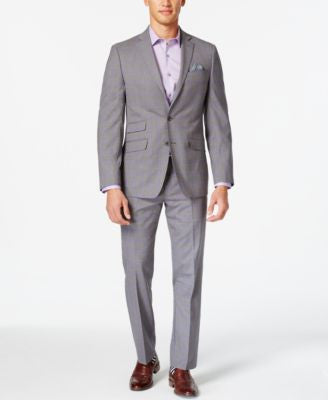 Tallia Men's Medium Grey and Purple Plaid Slim-Fit Suit