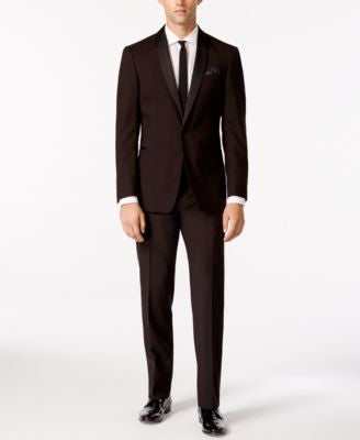 Tallia Men's Brown and Black Stripe Slim Fit Tuxedo Suit