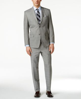 Marc New York by Andrew Marc Men's Black and White Plaid Slim-Fit Suit
