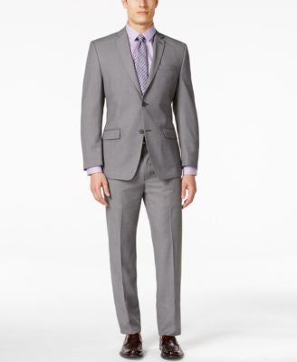 Marc New York by Andrew Marc Men's Gray Pindot Slim Fit Suit