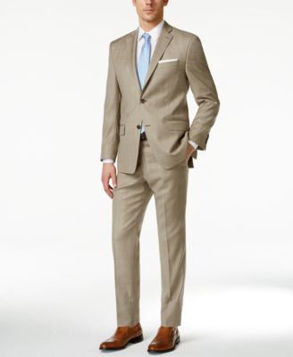 MICHAEL Michael Kors Men's Tan Plaid Big and Tall Classic Fit Suit