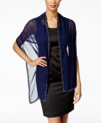 Style & Co. Multi-Colored Beaded Border Wrap, Only at Vogily