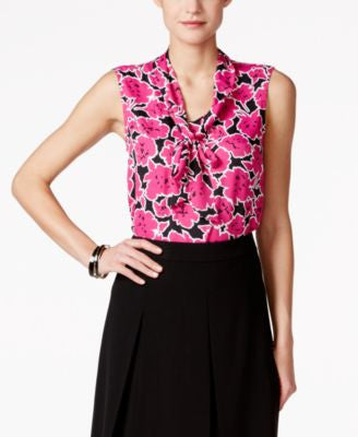 Nine West Sleeveless Floral-Print Tie-Front Blouse