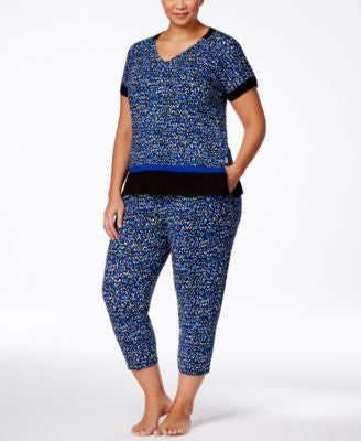 DKNY Plus Size Printed Pajama Top & Capri Pants Sleep Separates