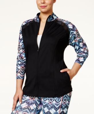 Jessica Simpson The Warm Up Plus Size Colorblocked Track Jacket