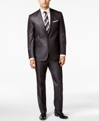 Kenneth Cole Reaction Charcoal Basketweave Slim-Fit Suit