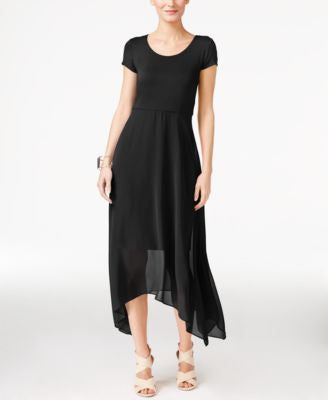 Vince Camuto Asymmetrical Chiffon-Contrast Dress