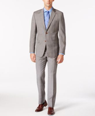 Lauren Ralph Lauren Men's Light Grey Plaid Slim Fit Suit