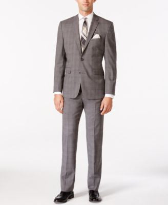 Vince Camuto Men's Grey Plaid with Orange Deco Windowpane Slim Fit Suit