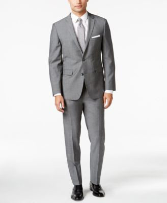 Vince Camuto Men's Grey Herringbone Slim Fit Suit