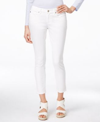 Eileen Fisher Slim-Fit White Wash Ankle Jeans