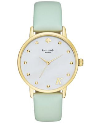 kate spade new york Women's Monogram Metro Mint Splash Leather Strap Watch 34mm KSW1100