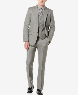 Perry Ellis Men's Solid Twill Suit