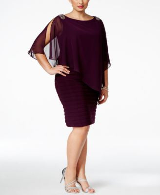 Xscape Plus Size Embellished Chiffon Overlay Dress