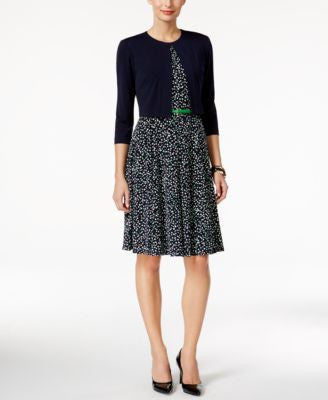 Jessica Howard Printed Belted Dress and Jacket
