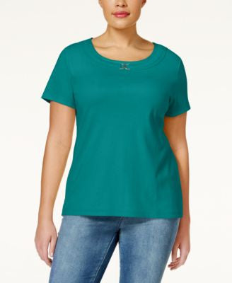 Karen Scott Plus Size Embellished Short-Sleeve Top, Only at Vogily