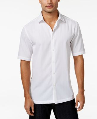 Alfani Men's Textured Short-Sleeve Shirt