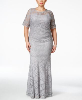 Xscape Plus Size Lace Shimmer Mermaid Gown