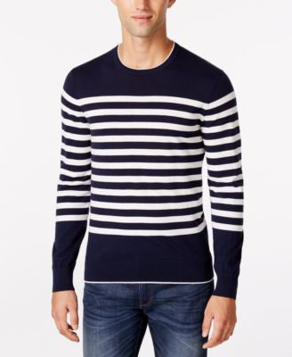 Michael Kors Men's Crew-Neck Striped Sweater