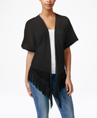 Cejon Solid Swiss Dot Fringe Cover Up