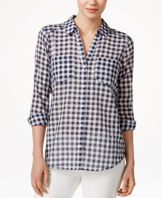 Maison Jules Long-Sleeve Gingham Shirt, Only at Vogily
