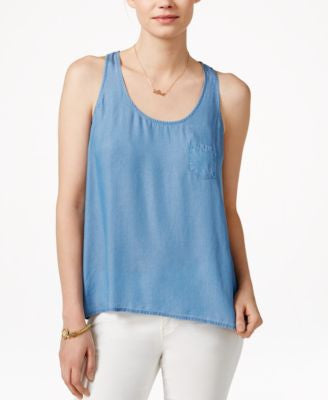 Maison Jules Chambray Racerback Tank Top, Only at Vogily