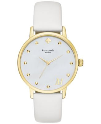 kate spade new york Women's Monogram Metro White Leather Strap Watch 34mm KSW1099