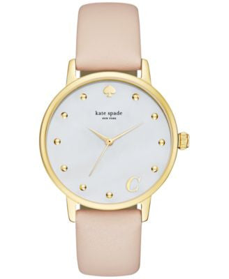 kate spade new york Women's Monogram Metro Vachetta Leather Strap Watch 34mm KSW1098