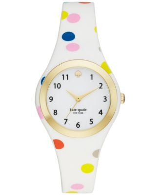 kate spade new york Women's Rumsey Multicolor Confetti Dot Silicone Strap Watch 30mm KSW1077