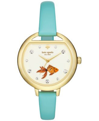 kate spade new york Women's Metro Frosted Mint Leather Strap Watch 34mm KSW1067